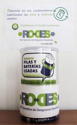 contenedores de pilas y baterías usadas para reciclaje