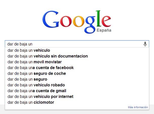 búsquedas en Google relacionadas con dar de baja