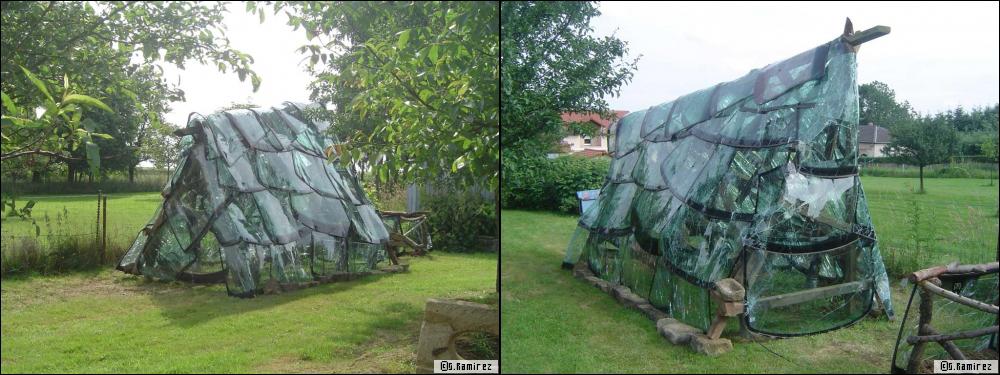 invernaderos con lunas de coche recicladas