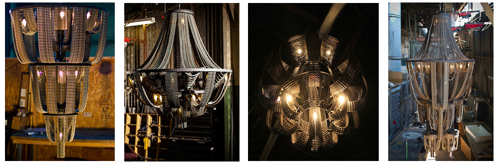 lámparas hechas con cadenas de bicicleta