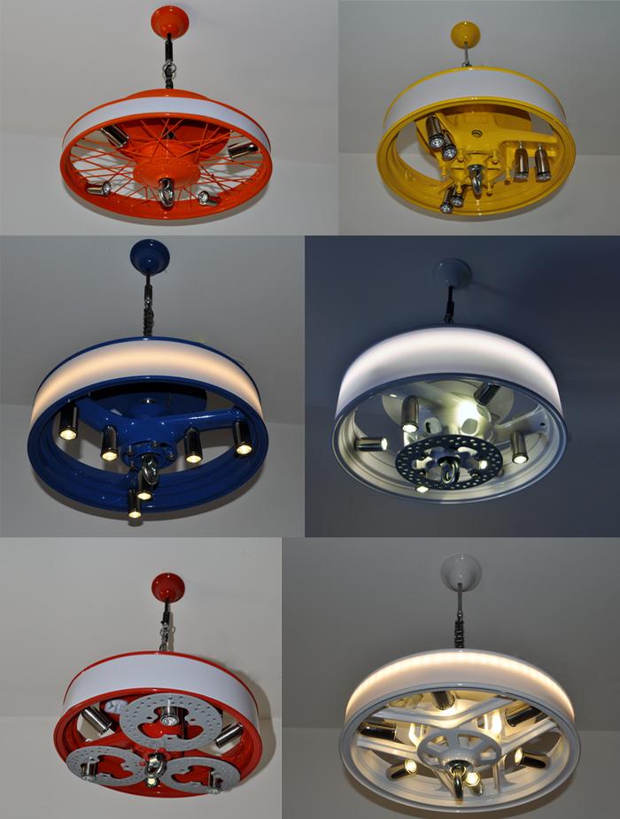 lámparas hechas con llantas de vehículos