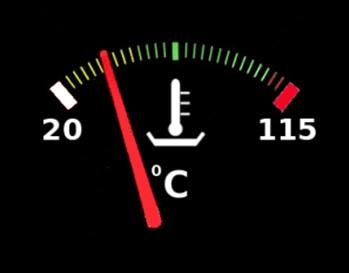 Imagen de un marcador de temperatura de un coche