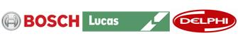 Logos Marcas de bombas inyectoras: Bosch, Lucas, Delphi.
