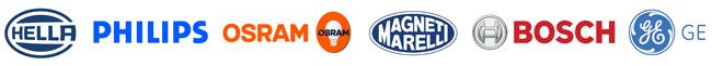 marcas de bombillas y lámparas para coche: philips, osram, magneti marelli, hella, bosch, general electric