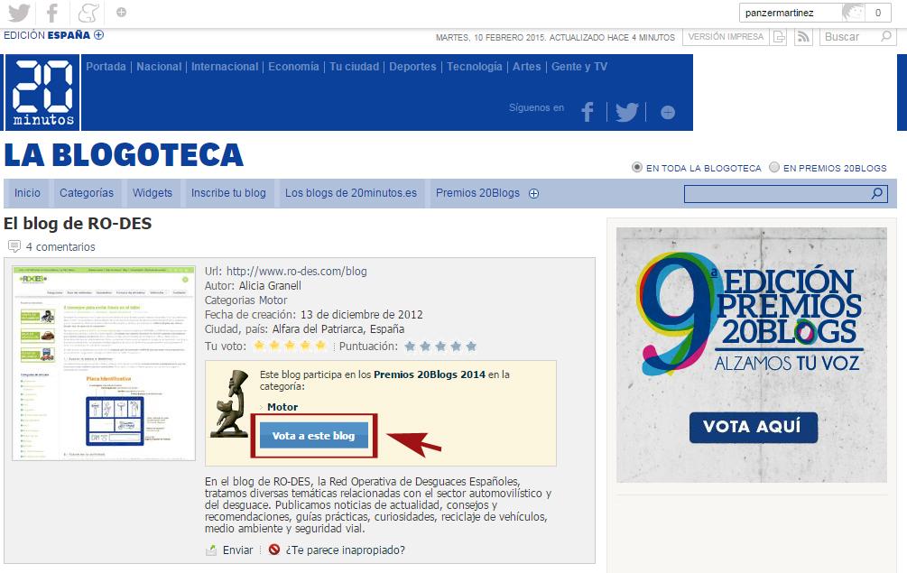 Votar a RO-DES en los Premios 20blogs