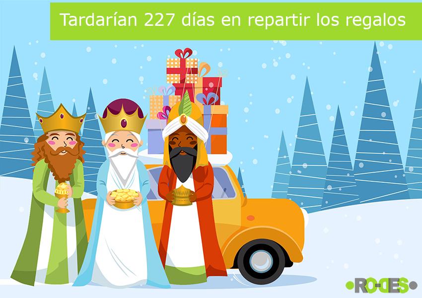"""¿Cuánto tardarían los Reyes Magos en repartir los regalos si lo hicieran en coche"""""""
