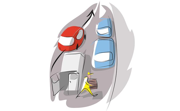 Adelantar a vehículo inmovilizado