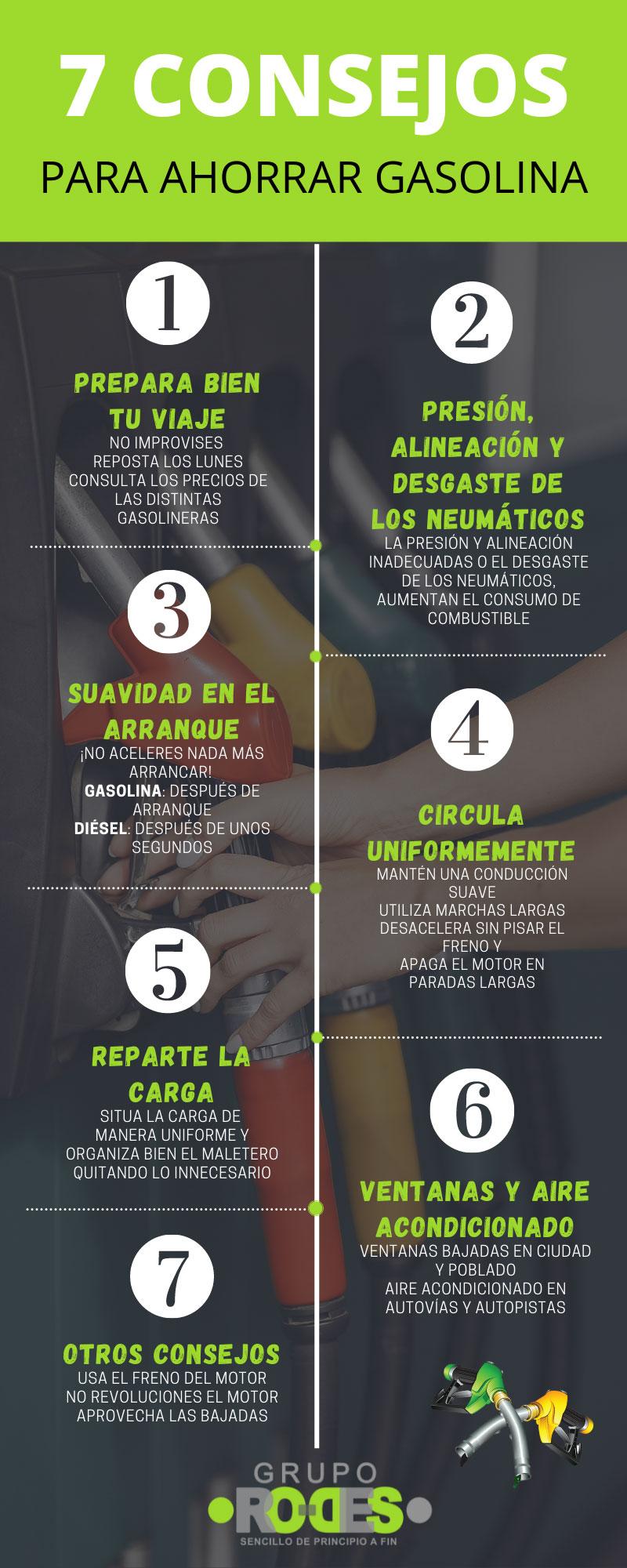Infografía: 7 consejos para ahorrar gasolina